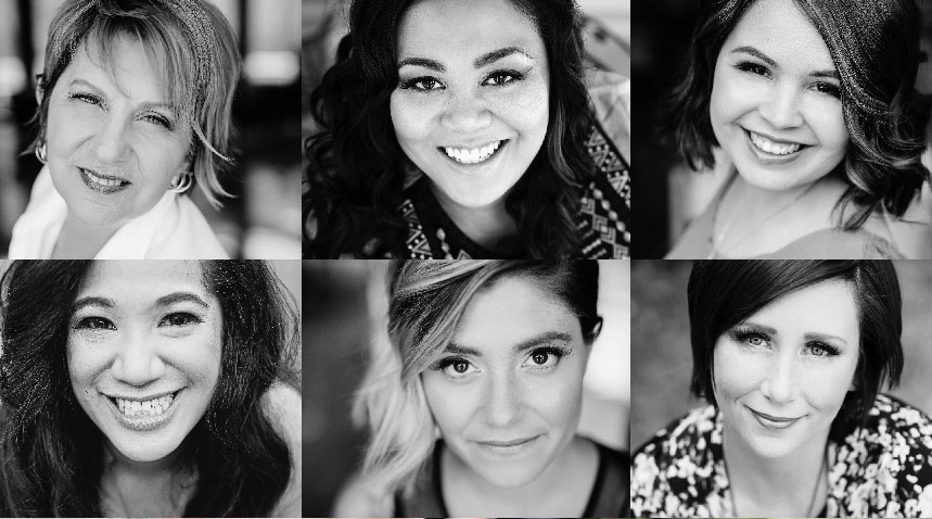 A collage of six woman's profile